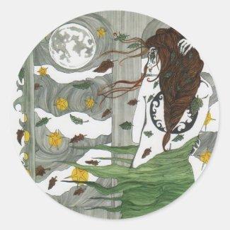 Autumn Wynd III Goddess Stickers Round