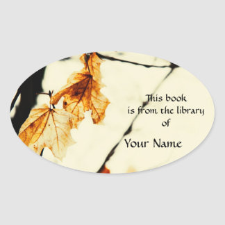 Autumn yellow maple leaf library sticker plate