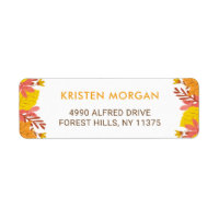 Autumn Yellow Orange Fall Leaves Label