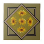 Autumn Yellow Sunflower Ceramic Tile