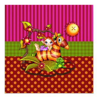 "Autumn Zebra Pixel Art 5.25"" Square Invitation Card"