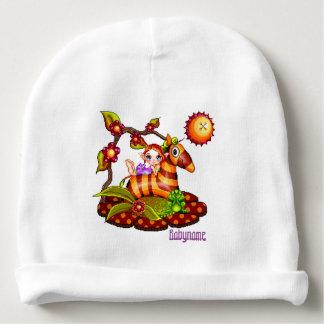 Autumn Zebra Pixel Art Personalized Baby Beanie