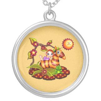Autumn Zebra Pixel Art Round Pendant Necklace