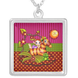 Autumn Zebra Pixel Art Square Pendant Necklace