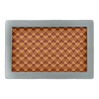 Autumnal Brown Colors Geometric Pattern. Belt Buckle