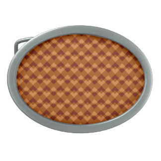 Autumnal Brown Colors Geometric Pattern. Oval Belt Buckle