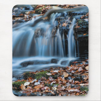 Autumnal Cascade Waterfall Mouse Pad