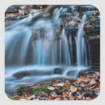 Autumnal Cascade Waterfall Square Sticker