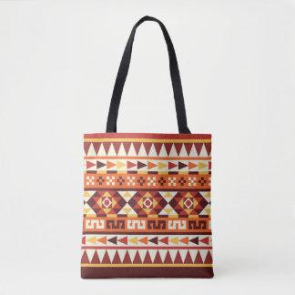 Autumnal Colors Aztec Geometric Pattern Tote Bag