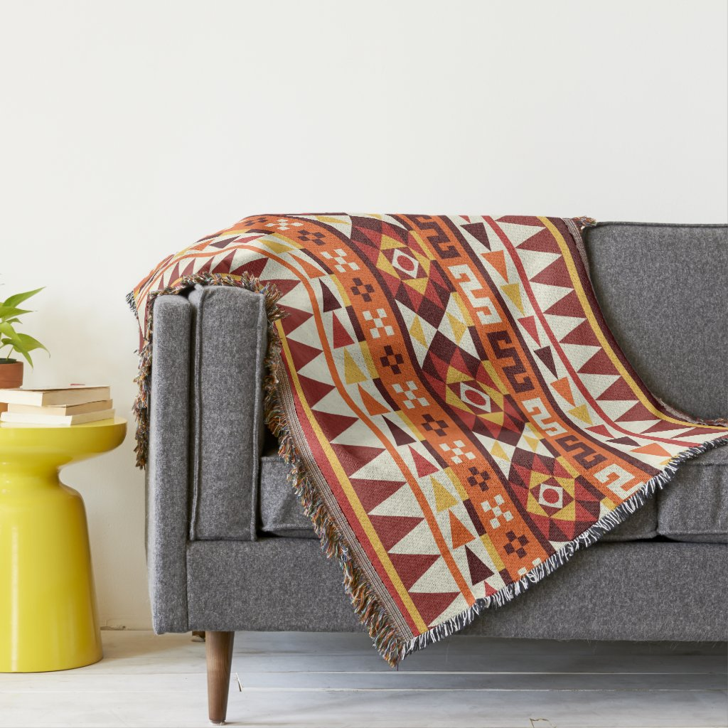 Autumnal Colors Aztec Style Pattern Throw
