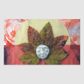 Autumnal Equinox Sunset - collage Rectangular Sticker