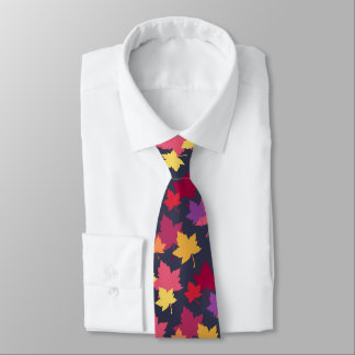 Autumnal Fall Leaves Pattern Neck Tie