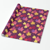Autumnal Fall Leaves Patterned Wrapping Paper