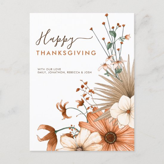 Autumnal Florals Foliage Happy Thanksgiving Names Holiday Postcard
