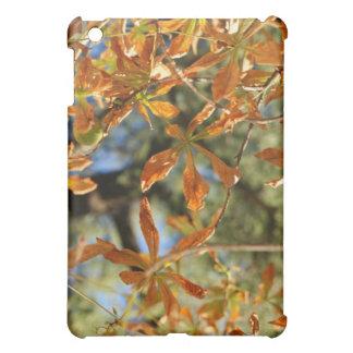 Autumnal gold leaves illustration of flowers iPad mini cover