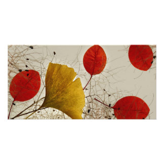 Autumnal leaves photo card