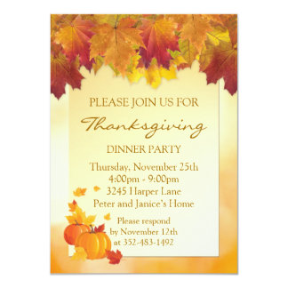 Autumnal leaves, pumpkins Thanksgiving Party Card