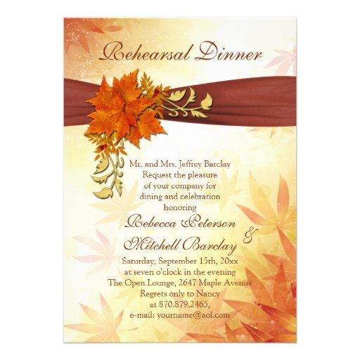 Autumnal leaves Rehearsal Dinner Custom Invite