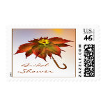 Autumnal leaves umbrella Bridal Shower Postage