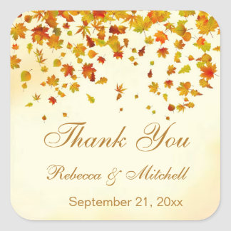 Autumnal leaves Wedding Thank You Square Sticker