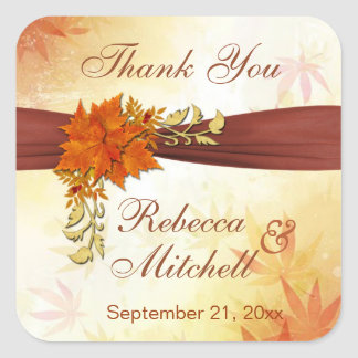 Autumnal leaves Wedding Thank You Stickers