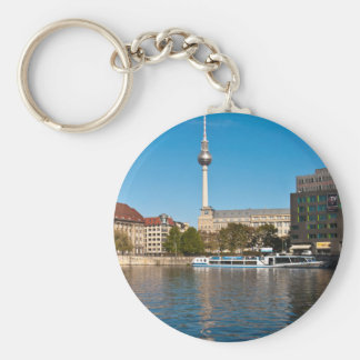 Autumnal morning tendency to the Spree in Berlin Basic Round Button Keychain