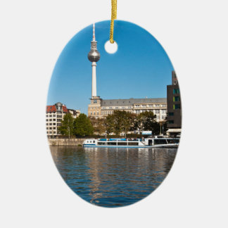 Autumnal morning tendency to the Spree in Berlin Ceramic Ornament