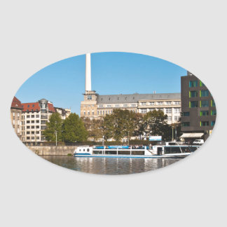 Autumnal morning tendency to the Spree in Berlin Oval Sticker