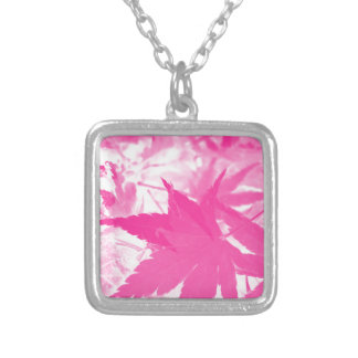 Autumnal pink. silver plated necklace