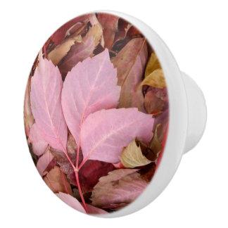 Autumnal Red Leaves Dresser Knob Ceramic Knob