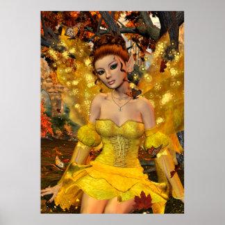 Autumn's Dance Fae Fantasy Art Posters