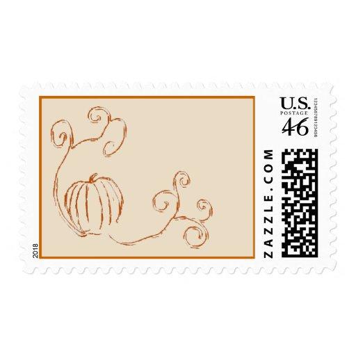 Autumn's Harvest Postage Stamp - Orange Version