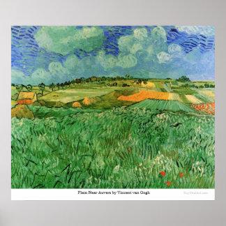 Auvers cercano llano de Vincent van Gogh Póster