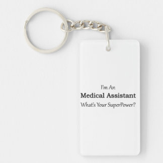 Auxiliar médico llavero rectangular acrílico a doble cara