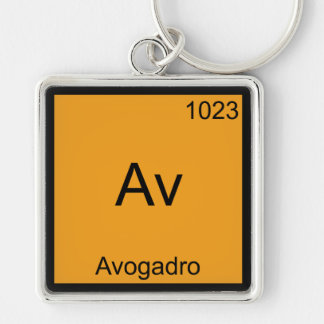 Av - Avogadro Funny Element Chemistry Symbol Tee Silver-Colored Square Keychain