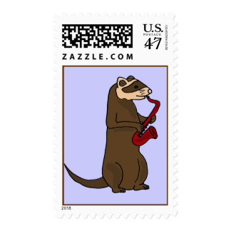 AV- Funny Ferret Playing Saxophone Postage Stamps