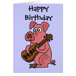 AV- Funny Pig Playing Guitar Cartoon Card