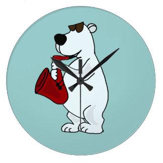 AV- Polar Bear Playing Saxophone Wall Clock