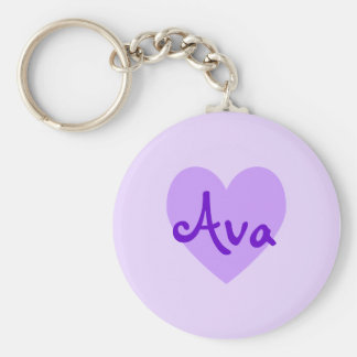 Ava in Purple Basic Round Button Keychain