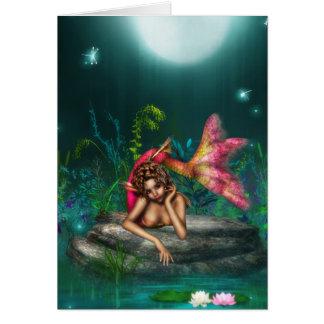 Ava la sirena rosada tarjeta de felicitación