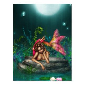 Ava la sirena rosada postal