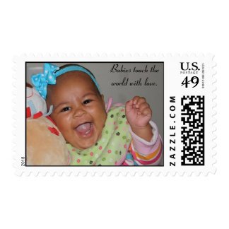 AVA LAUGHTER BURST PIC, Babies touch the world ... Postage Stamp