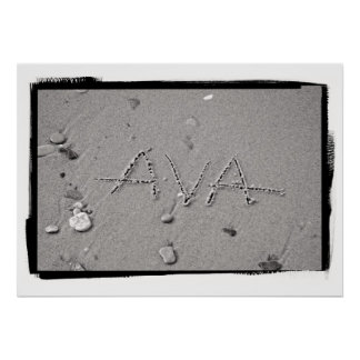 Ava Name in Beach Sand Writing Poster