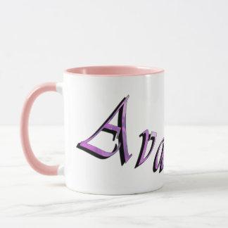 Ava, Name Logo, Pink Combo Coffee Mug