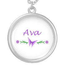 Ava (Purple Butterfly) Silver Plated Necklace