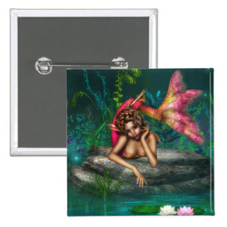 Ava the Pink Mermaid 2 Inch Square Button