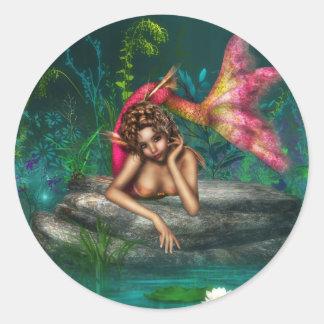 Ava the Pink Mermaid Classic Round Sticker