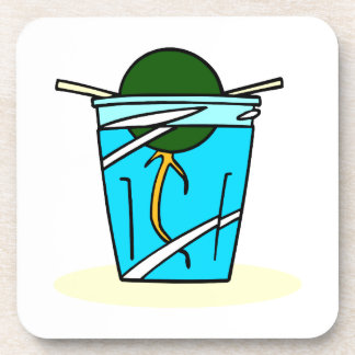 avacado abstract pit growing in water drink coaster