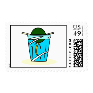 avacado abstract pit growing in water postage stamp