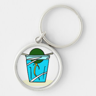 avacado abstract pit growing in water Silver-Colored round keychain